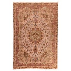 Extremely Fine Persian Tabriz Mahi Design Wool/Silk, 'Square'
