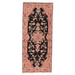 Extremely Fine Vintage Black Tabriz Runner Rug, Hand Knotted, Wool and Silk