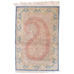 Fine Persian Silk Qum, Silk on Silk, circa 1970