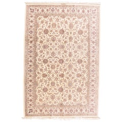 Extremely Fine Vintage Ivory Qum Persian Rug, Silk on Silk, Hand Knotted