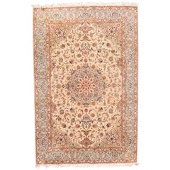Extremely Fine Vintage Ivory Tabriz Persian Rug, Hand Knotted, Wool and Silk