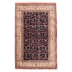 Extremely Fine Vintage Navy Qum Persian Rug, Silk on Silk, circa 1970