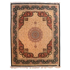 Extremely Fine Vintage Persian Qum Rug, Silk on Silk Signed by Master Weaver