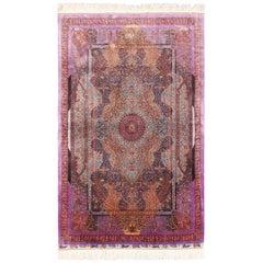 Extremely Fine Vintage Persian Silk Qum Jamshidi Rug
