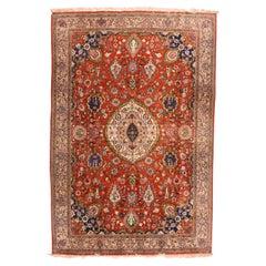 Vintage Fine Red Qum Persian Area Rug, Silk on Silk, circa 1970