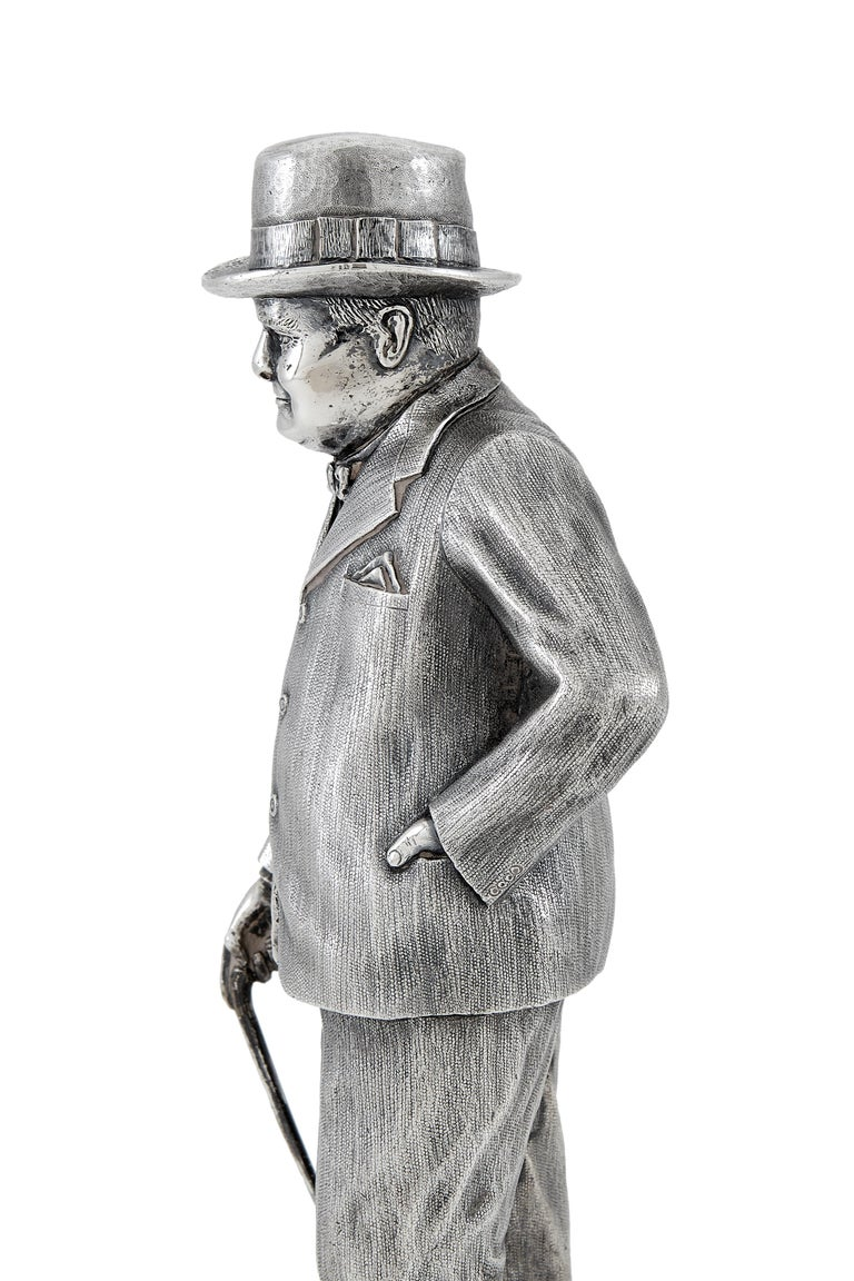 English Extremely Heavy Cast Silver Statuette of Prime Minister Winston Churchill