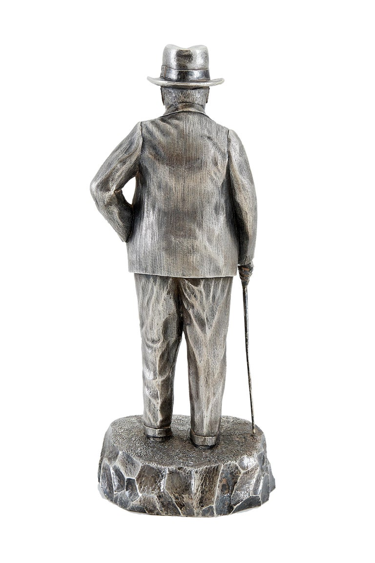 Late 20th Century Extremely Heavy Cast Silver Statuette of Prime Minister Winston Churchill