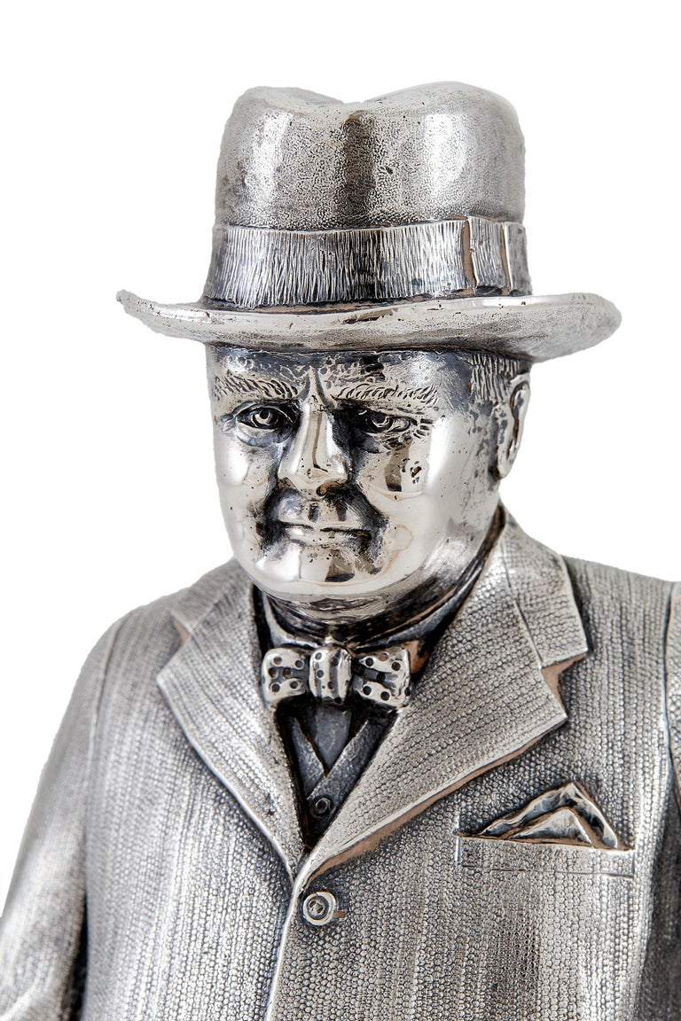 Extremely Heavy Cast Silver Statuette of Prime Minister Winston Churchill 1