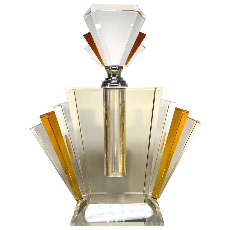 Extremely Large And Exquisite Art Deco Amber Crystal Perfume Bottle Decanter At 1stdibs