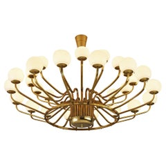 Extremely Large Chandelier in Brass with Glass Spheres