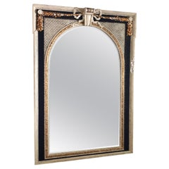 Extremely Large Elegant French Louis XVI Style Hand Painted Carved Wood Mirror