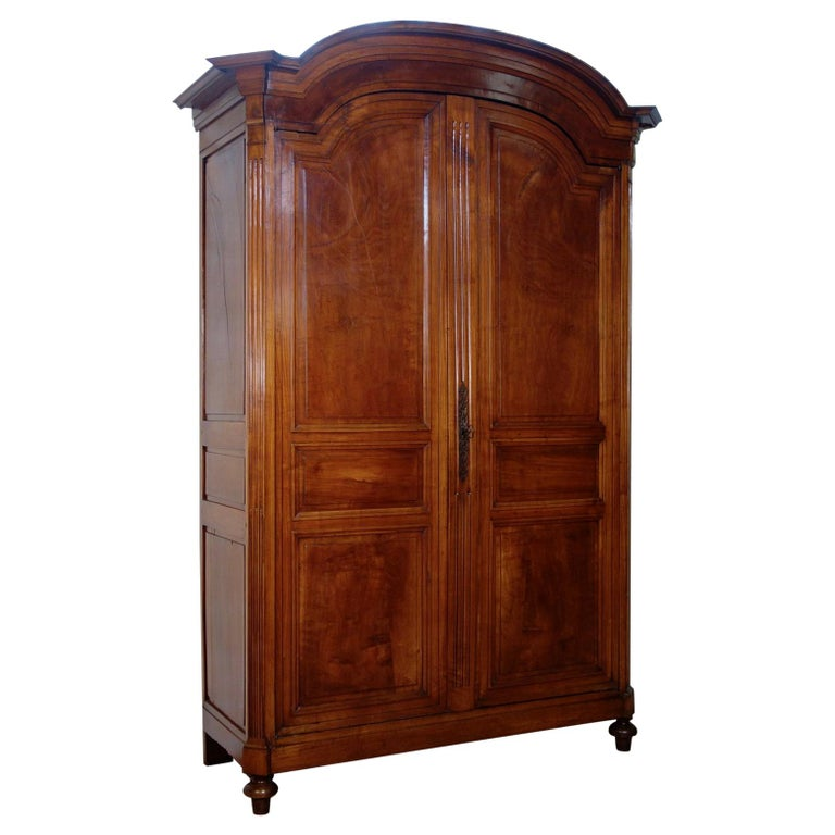 Extremely Large French 18th Century Louis XVI Walnut Armoire Wardrobe Cupboard For Sale