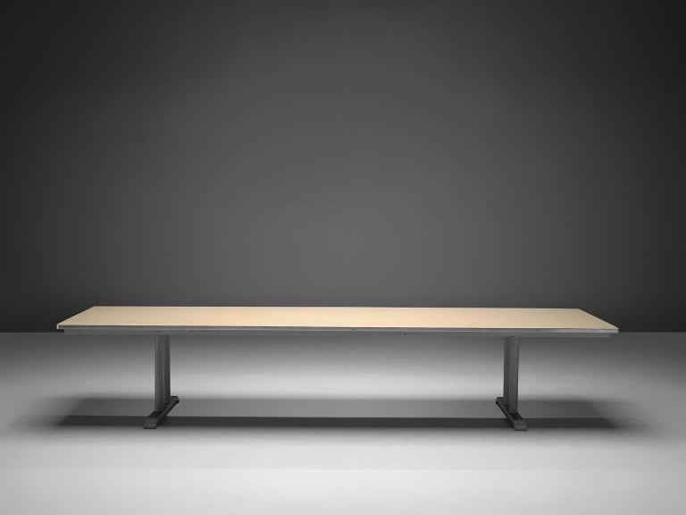 Conference table, linoleum top with aluminium foot, Chris Hoffmann for Gispen, The Netherlands, 1949.   This four meter long conference table is produced by Gispen (1916-) and designed by Chris Hoffmann. The table features two trestle bases legs.