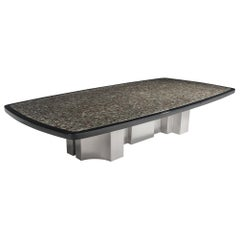 Extra Large And Unique Jean Claude Dresse Coffee Table with Inlay of Marcasite.