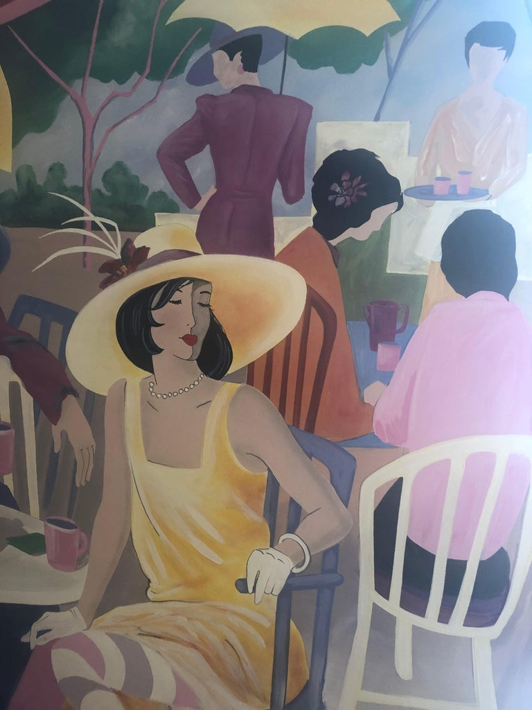 Impressive in scale and delightful in subject matter, a Tarkay style original painting of stylish ladies at an outdoor cafe sipping champagne and looking like they stepped out of a fashion magazine.  Signed Clifton lower right.