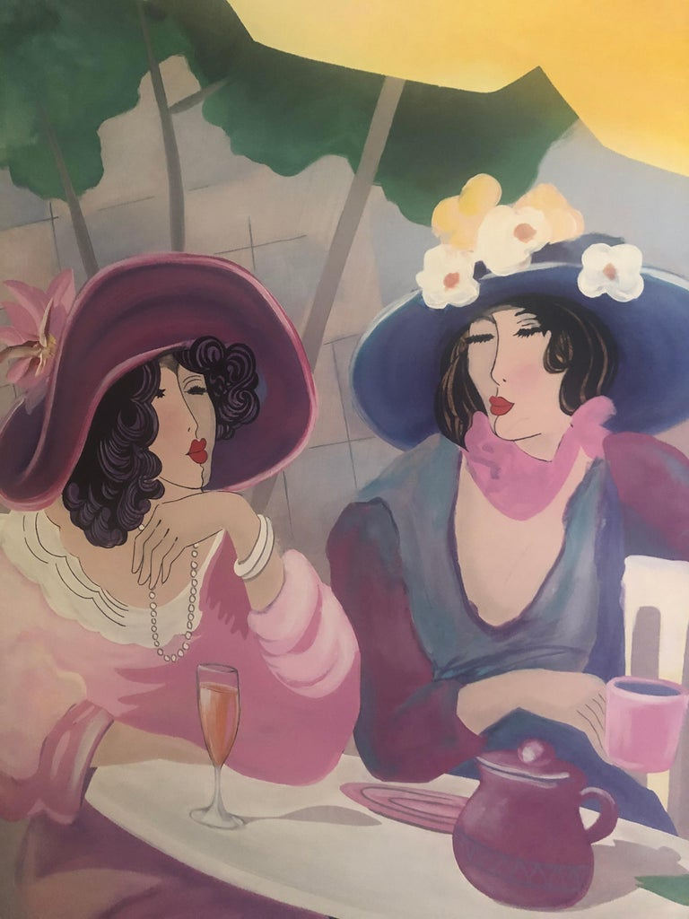 Extremely Large Original Painting on Canvas of Lunching Ladies In Excellent Condition For Sale In Hopewell, NJ