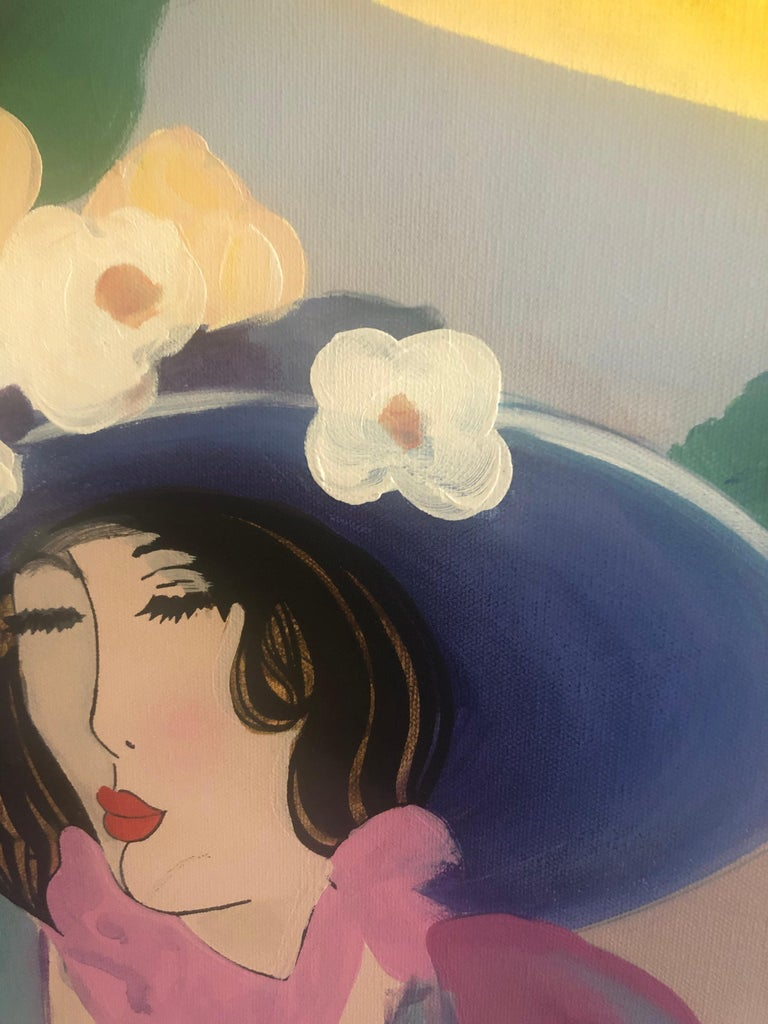 Contemporary Extremely Large Original Painting on Canvas of Lunching Ladies For Sale