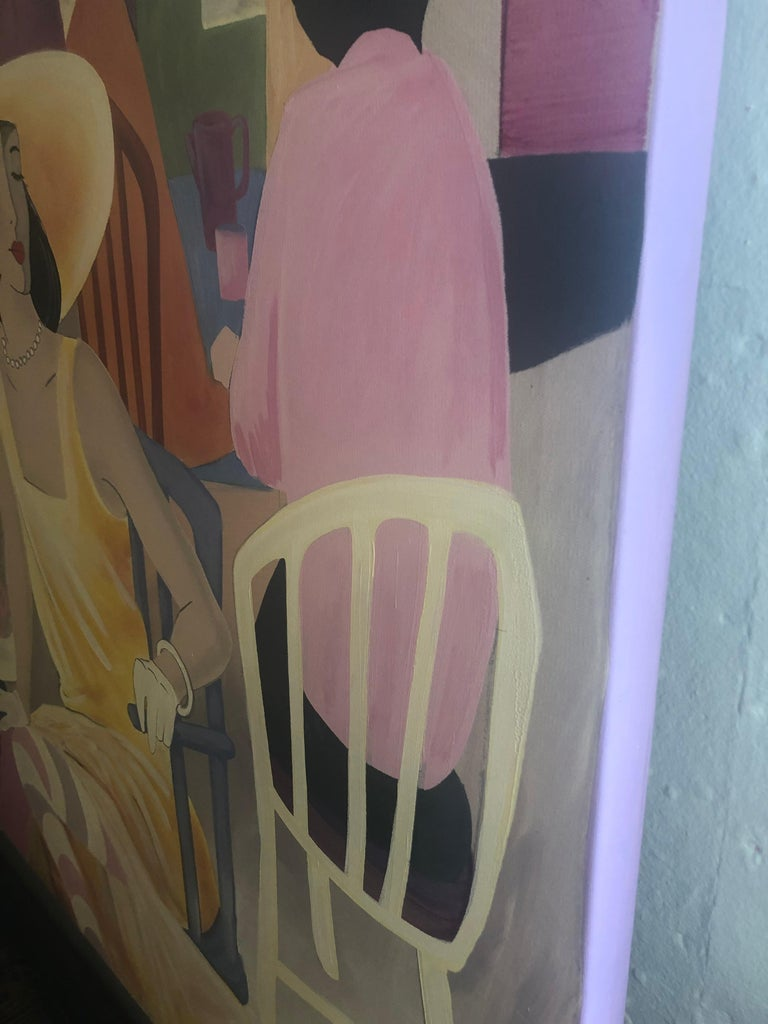 Extremely Large Original Painting on Canvas of Lunching Ladies For Sale 3