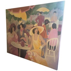 Extremely Large Original Painting on Canvas of Lunching Ladies