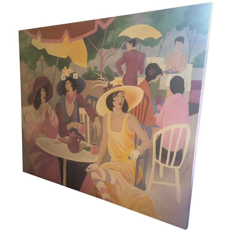 Extremely Large Original Painting on Canvas of Lunching Ladies For Sale