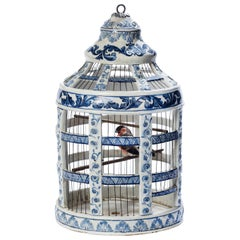 Extremely Rare 18th Century Dutch, Delft, Blue and White Birdcage