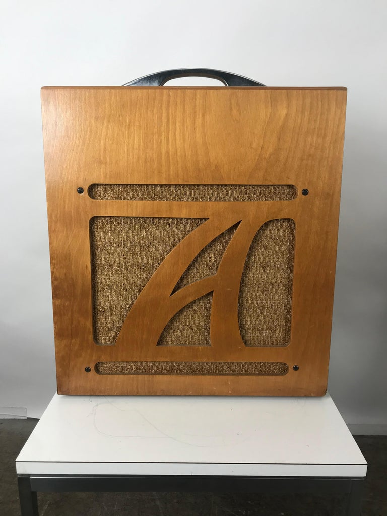 Extremely rare 1954 Alamo Electrical musical amplifier, model 6A, mint original showroom condition, retains original canvas cover, complete with operating instructions and warranty bond,  Alamo Model 6A from the 1950s. It had the original cloth