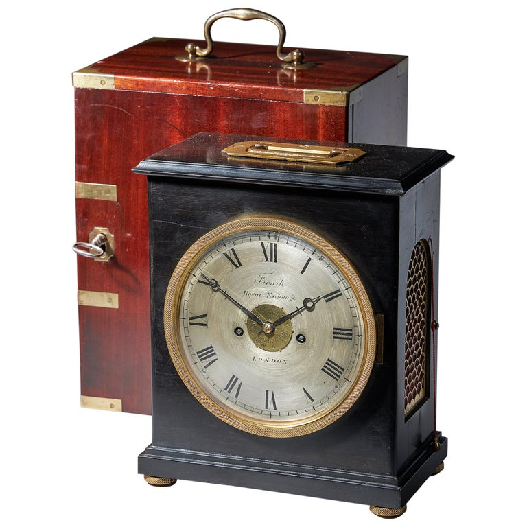 Extremely Rare 19th Century Traveling Clock Signed French Royal Exchange, London For Sale