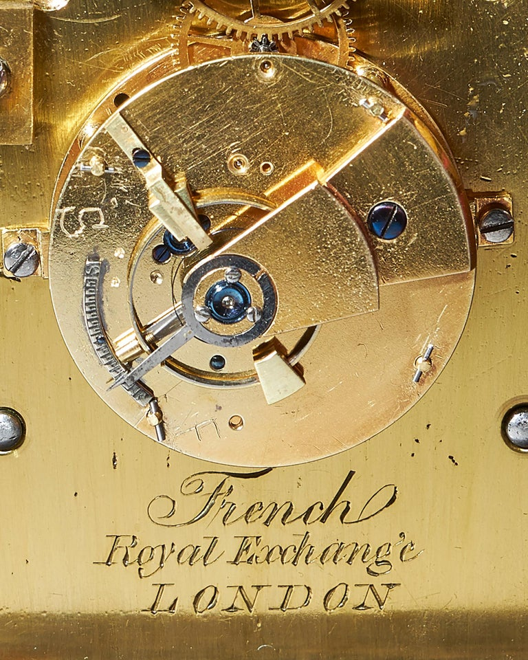 Extremely Rare 19th Century Traveling Clock Signed French Royal Exchange, London For Sale 7