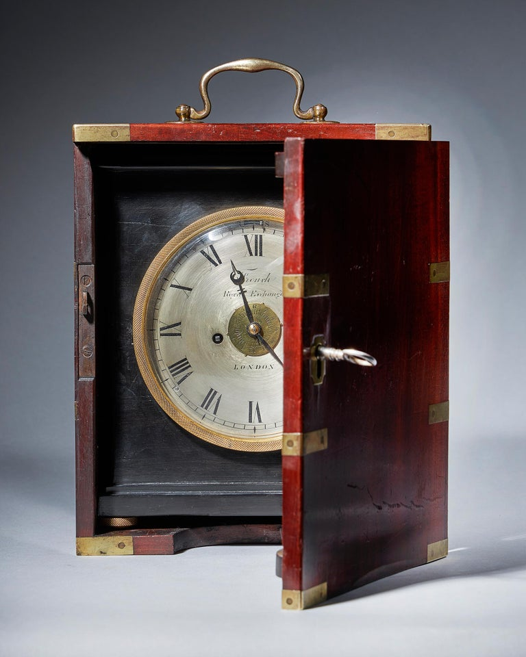 Regency Extremely Rare 19th Century Traveling Clock Signed French Royal Exchange, London For Sale