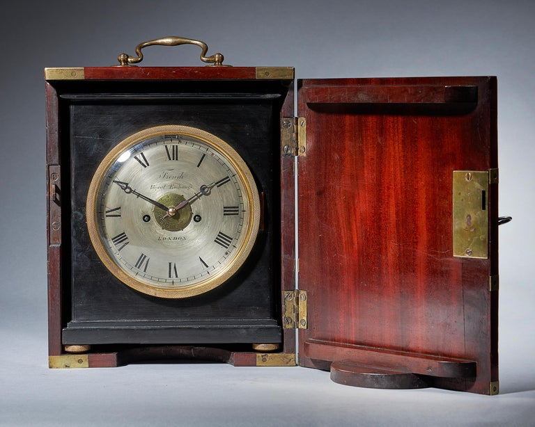 English Extremely Rare 19th Century Traveling Clock Signed French Royal Exchange, London For Sale