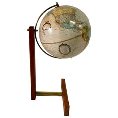 Extremely Rare Cantilevered Style Teak & Brass World Globe