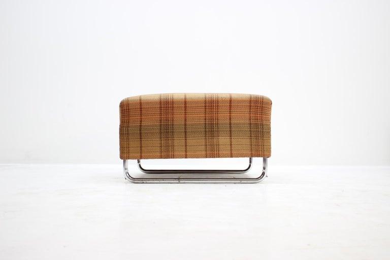 Upholstery Extremely Rare Chrome Bauhaus Modular Sofa H120 or Jindřich Halabala, 1930s For Sale