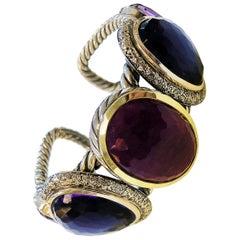 Extremely Rare David Yurman Buckle Bangle Bracelet Whit Ruby Albion, Diamond