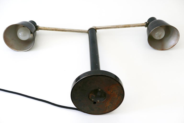 Extremely Rare Double Head Two-Armed Bauhaus Table Lamp, 1920s-1930s, Germany For Sale 14