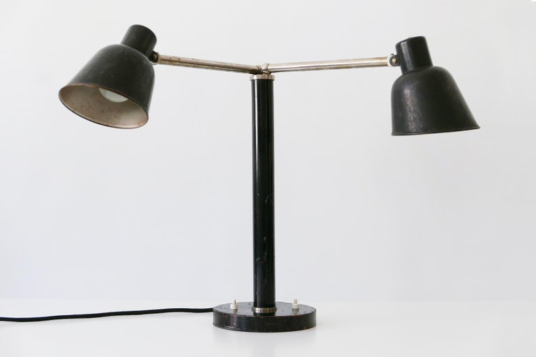 Lacquered Extremely Rare Double Head Two-Armed Bauhaus Table Lamp, 1920s-1930s, Germany For Sale