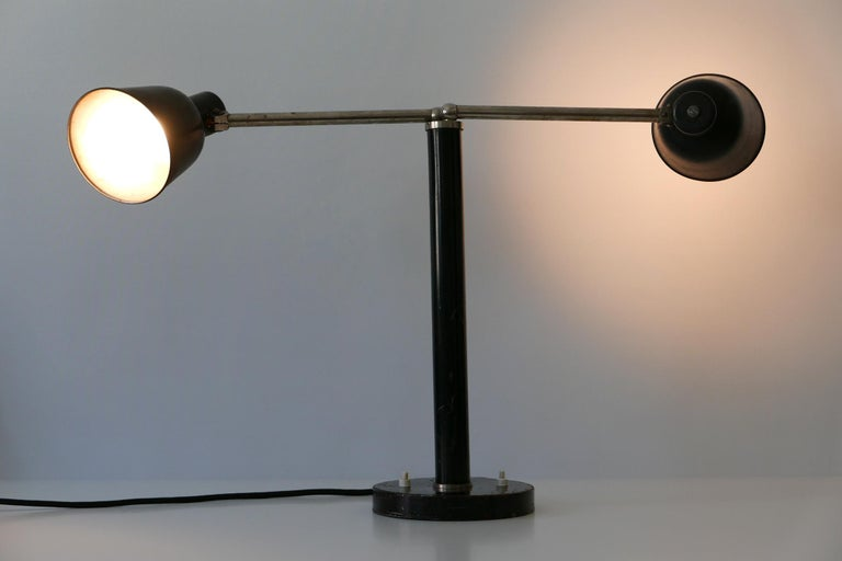 Early 20th Century Extremely Rare Double Head Two-Armed Bauhaus Table Lamp, 1920s-1930s, Germany For Sale