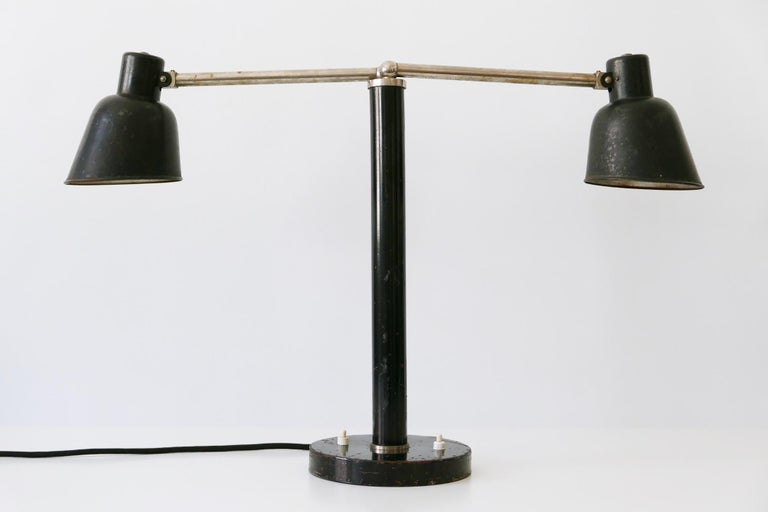 Extremely Rare Double Head Two-Armed Bauhaus Table Lamp, 1920s-1930s, Germany For Sale 1
