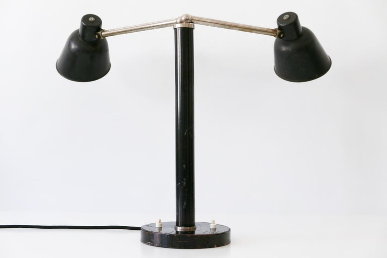 Extremely Rare Double Head Two-Armed Bauhaus Table Lamp, 1920s-1930s, Germany For Sale 2