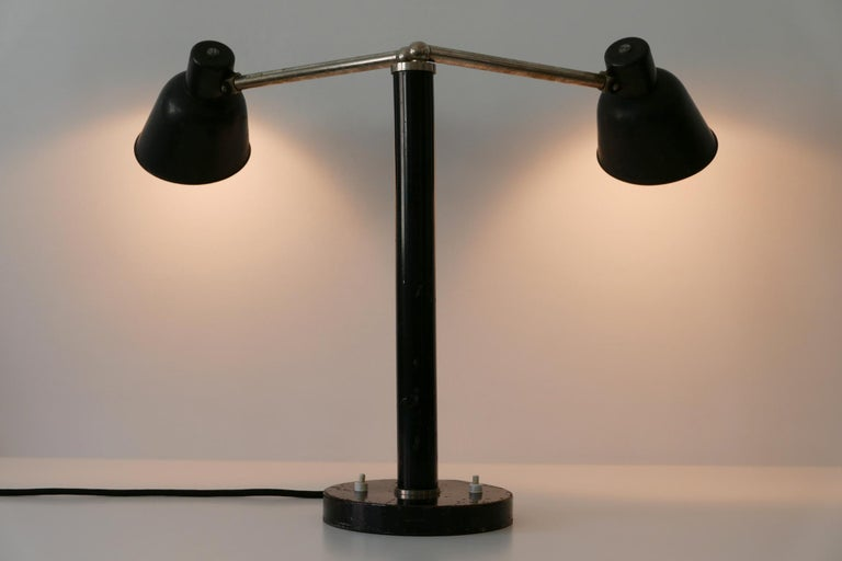Extremely Rare Double Head Two-Armed Bauhaus Table Lamp, 1920s-1930s, Germany For Sale 4