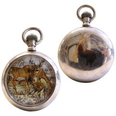 Extremely Rare Elgin Silver Pocket Watch Deer Printed Dial