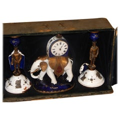 """Extremely Rare Enameled Three-Piece Clock Set by """"Lormier"""" with Travel Case 1810"""