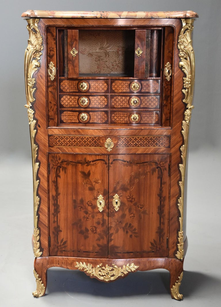 Extremely Rare French Fine Quality Mid-18th Century Louis XV Secretaire Cabinet In Good Condition For Sale In Suffolk, GB
