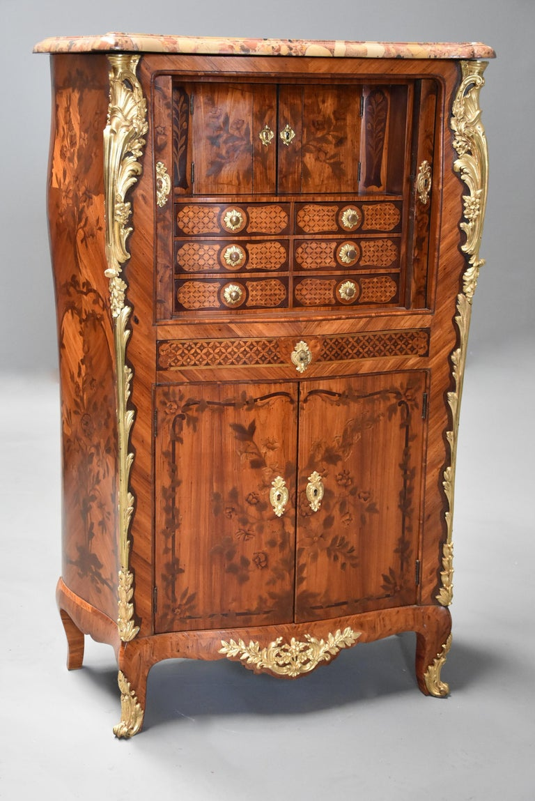 Extremely Rare French Fine Quality Mid-18th Century Louis XV Secretaire Cabinet For Sale 3