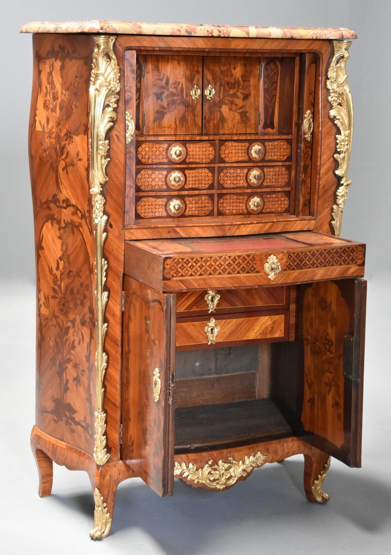 Extremely Rare French Fine Quality Mid-18th Century Louis XV Secretaire Cabinet For Sale 5