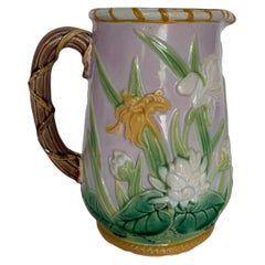 Extremely Rare George Jones Majolica Iris Pitcher, England, circa 1875