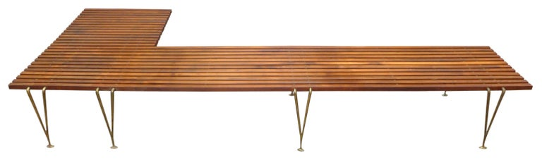 Extremely Rare L-Shaped Slat Bench Attributed to Hugh Acton 2
