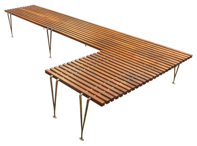Extremely Rare L-Shaped Slat Bench Attributed to Hugh Acton 3