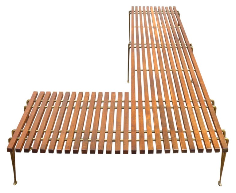 Extremely Rare L-Shaped Slat Bench Attributed to Hugh Acton 4