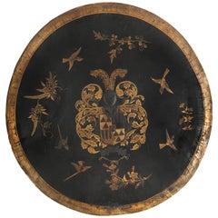 Extremely Rare Japanese Dutch Colonial Export Lacquer Shield with Coat-of-Arms