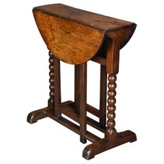 Extremely Rare Late 17th Century Oak Joined Gateleg Table of Small Proportions